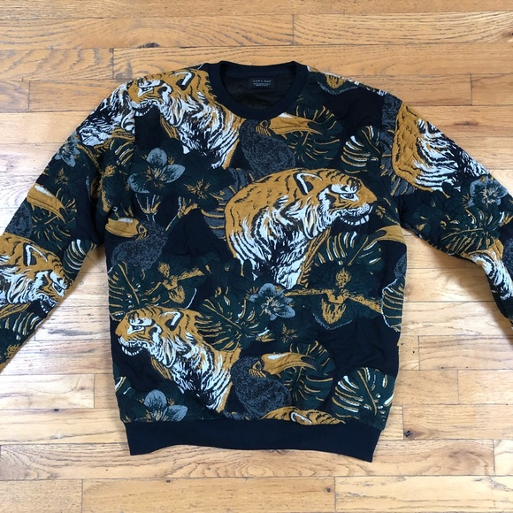 5603eab7d551dc Zara Sweaters | Tiger Lion Print Sweater Quilted | Poshmark